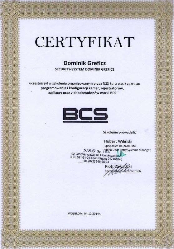 Certyfikat BCS